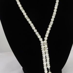 Yolanta Rhinestone & Faux Pearl Necklace